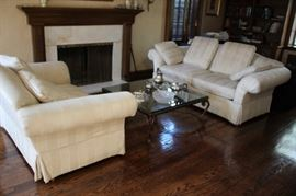 Sofa and Club Chair with Square Coffee Table