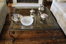 Square Metal & Glass Coffee Table with Decorative Serving Pieces