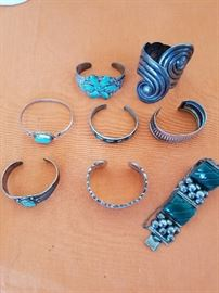 Lots of Turquoise and Silver Bracelets