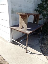 Industrial table and rustic bench