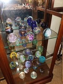 Large collection of high quality paperweights by various artist most are signed