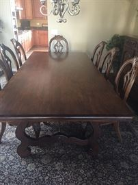 Drexel Heritage, Tavola For A Feast, Dark Antique finish, 9 ft. long.  Includes custom made table pad.  From the Walter E. Smithe Tuscany Collection inspired by Frances Mayes, author, Under the Tuscan Sun.