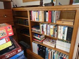 bookcases, bunch of national geographics