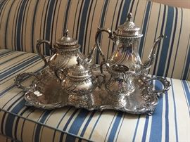 "Reed & Barton ""Devonshire"" Hand Chased Sterling Silver Coffee/Tea Service and a silver plate waiter"