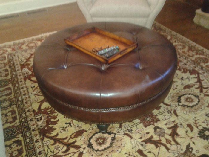Leather ottoman-Haverty's