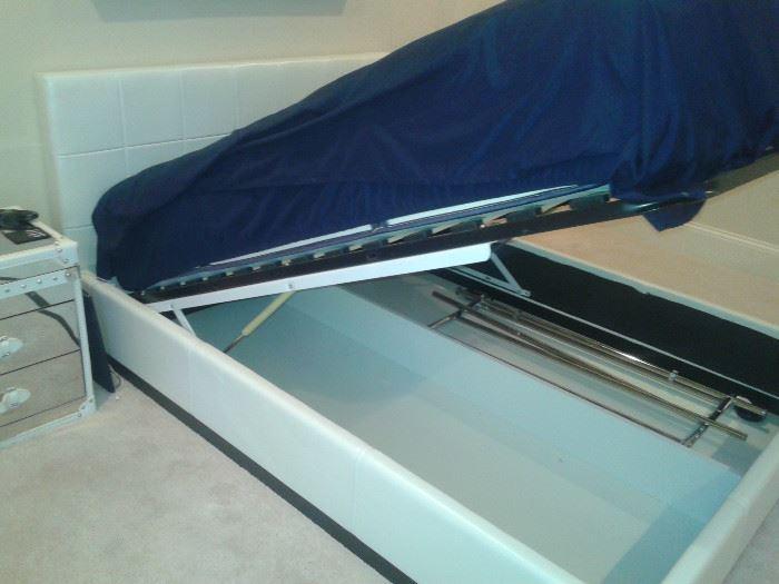 White Eco Leather Storage Bed-Modani (Buckhead), Mattress not for sale