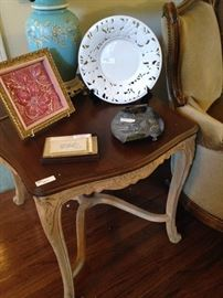 One of two end tables has a matching coffee table.