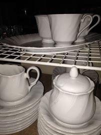 Varied pieces of bone white china