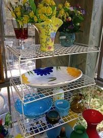 Colorful vases, bowls, and platters