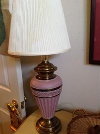 One of two vintage lamps