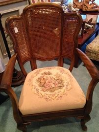 Cane chair with needlepoint seat