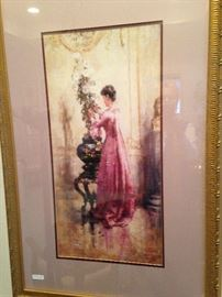 Framed lovely lady art
