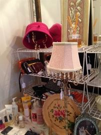 Lotions, wallets, lamp, and other vanity items
