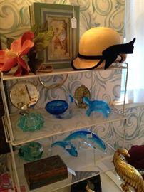 Blue glass animal figurines