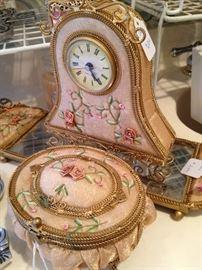 Clock, mirror, and lidded box vanity set