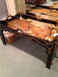 Black Asian coffee table (large brass scones on top)