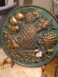 Aqua and gold vintage plaque