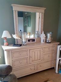 Matching whitewash dresser with mirror