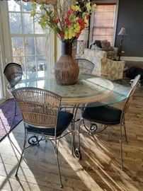Glass round kitchen table with chairs