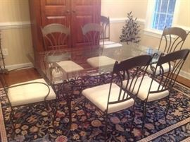 Glass Top / Metal Dining Set with 6 Chairs $ 380.00