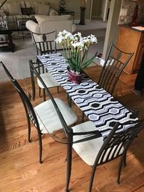 Glass/Metal dining set.