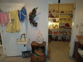 Cute, Cute Vintage Aprons, In Great Shape! Vintage Ceramic Christmas Tree, Tell City Night Stand and The Christmas Closet!