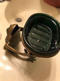 Frog Brass Soap Dish