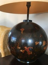 Vintage Paper Mache Lamp with Men and Animals