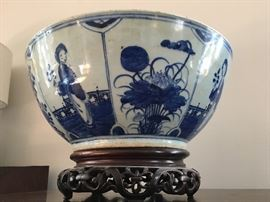 19th Century Chinese Canton Blue and White Bowl