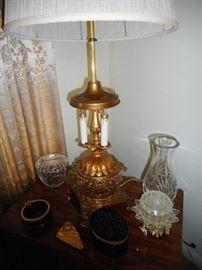 Vintage Gold Candelabra Lamp.Crystal