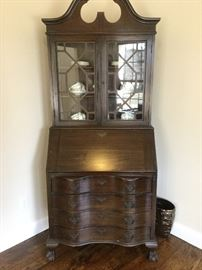 Nice clean vintage secretary desk with Serpentine front