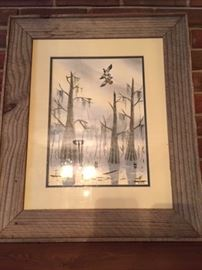Marcella Tatum (Jennings, LA) framed signed swamp scene
