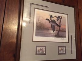 Framed Louisiana 1991 Duck stamp -- Brett J Smith GCCA 9/12