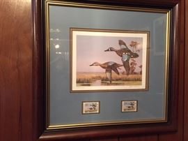Framed 1989 Louisiana  Duck stamp -- David Noll GCCA 9/12