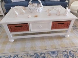 cottage style coffee table with basket drawers