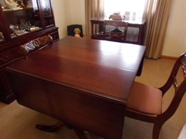 Duncan style table and chairs, china cabinet and server