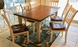 Rectangle wood kitchen dining table with 6 chairs