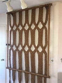 Vintage 1970's woven wall hangings & window valances