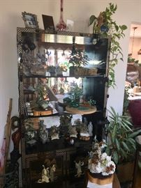 Asian wall unit & Dozens of Natural quartz & stone Bonsai trees