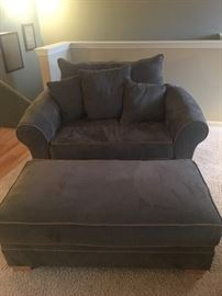 Chair and half with ottoman