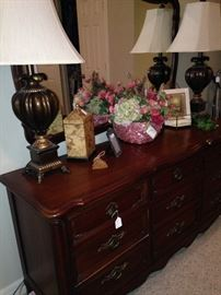 Another dresser; pair of matching lamps