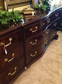 Beautiful triple dresser matches the nightstands, chest, and armoire.