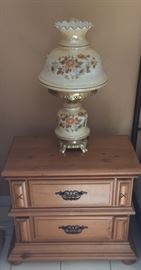 Bedside Table and Lamp.