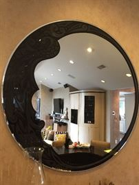 "5. Deco Etched Black Glass 60"" D Round Mirror w/ Peacock Design"