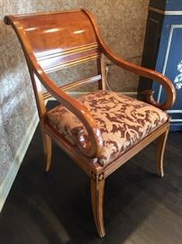 "3. Biedermeier-style Dining Chairs of Fruitwood & Burl w/ Black Trim. 2 Arm Chairs (24"" x 27"" x 37"") 6 Side Chairs (20"" 25"" x 37"")"