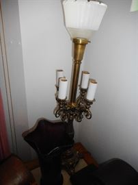 Vintage Rembrandt Candelabra Lamp with milk glass Shade