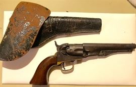 ALL ORIGINAL: 1851 Navy Colt 36 Cal w orig leather holster. All 4 serial numbers match 23589. Inspectors Marks w Col Sam Colt New York U.S. America on barrel. Gun is functional as is. Great collectible