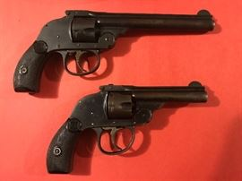 PAIR OF EARLY 1900'S HARRINGTON AND RICHARDSON 32 Cal Top Break Hammerless Pistols. Both Cleaned and Functional-Dont see these everyday