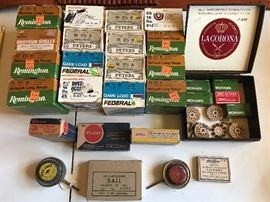 TOP: Vintage Boxes 12 Ga/16Ga/20 Ga/38 Special/22 LR . BOTTOM:2 Antique American Can Co quick loaders/primers & Ball Cartridges for 30 Cal