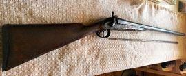 1800'S W. Richards Double Barrel Hammer style 12 Gauge w wood packing rod ( Great Gallery Gun)